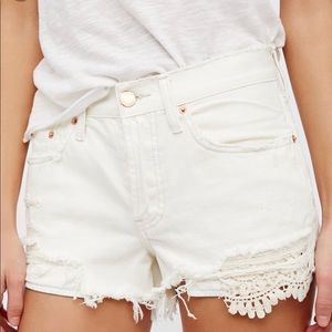 Free People Daisy Chain Crochet Distressed Shorts